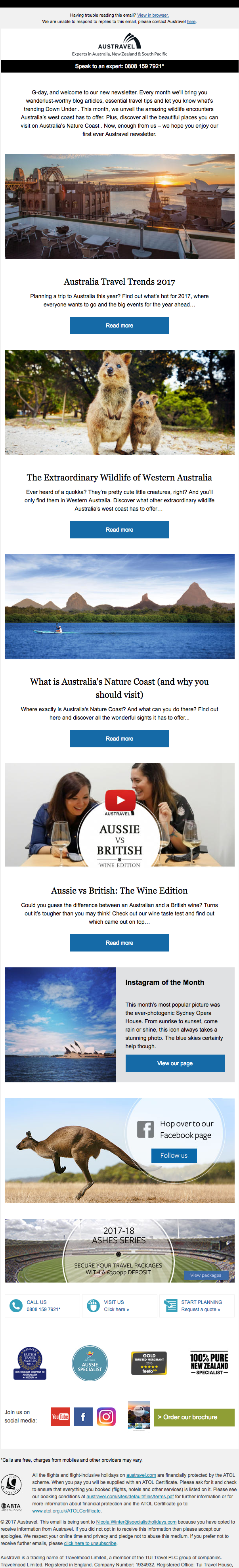 Austravel Content Email