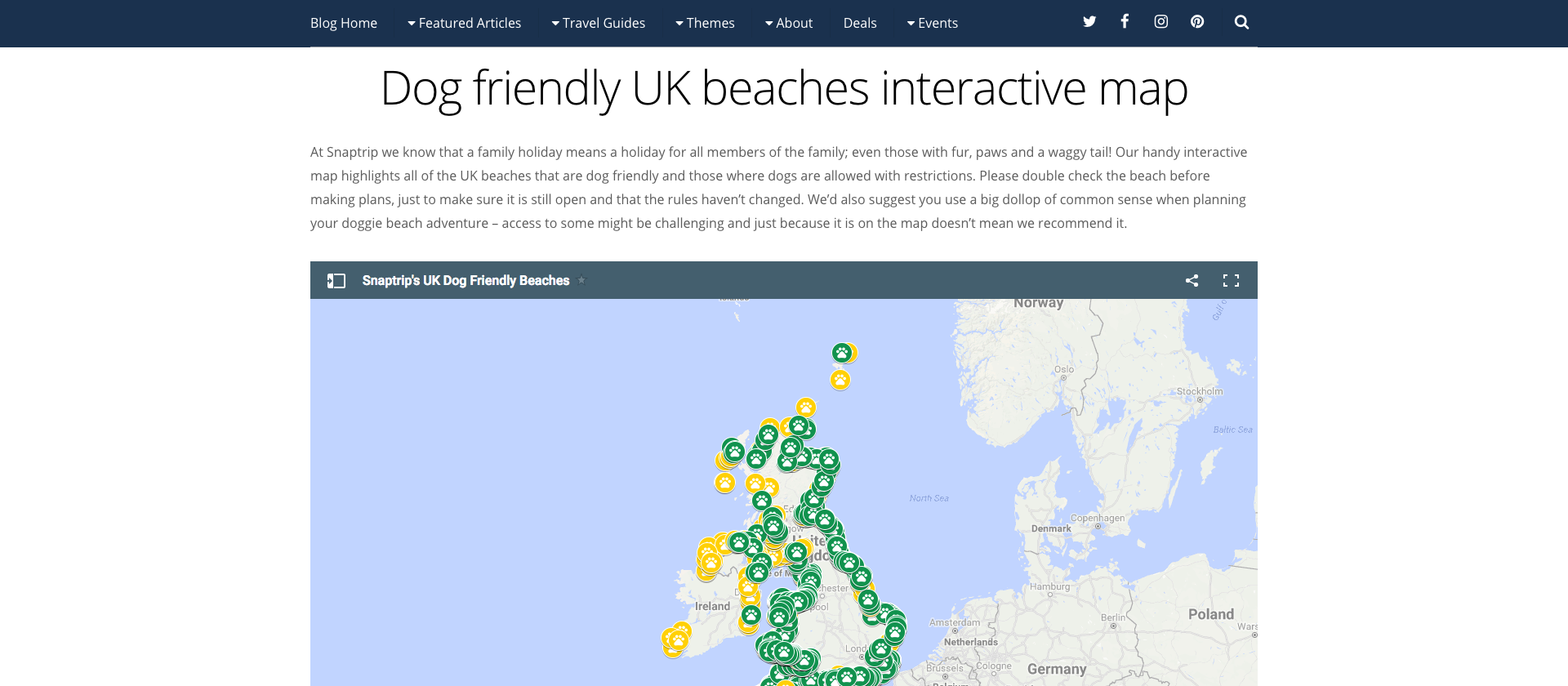 Dog friendly UK beaches interactive map Snaptrip